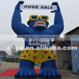 Banner holding big inflatable cartoon shape gorilla model
