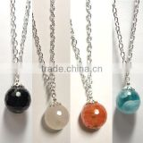 Necklace white glass round beads faceted jewelry necklace