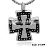 Shining Gold or Silver Plated Hollow Black Prayer Cross Cremation Ashes Pendant Funeral Casket And Urns Religious Jewelry