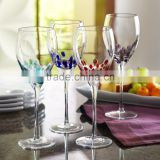 Hot Promotional hand blown color dots wine Glass Goblet                                                                         Quality Choice