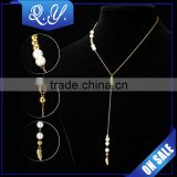 SSP0105 PVD plating stainless steel 18K gold bridal jewelry, luxury pearl chain necklace