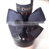 wholesale black grosgrain ribbon bow for wine bottles