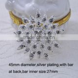 (M0800) 45mm bar metal crystal buckle,wedding bouquet shape with bar at back,for invitation car or wedding chair