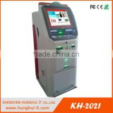 Touch screen Free standing card reader kiosk thermal printer kiosk Currency exchange machine