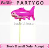 wholesale 14.5inch colorful sharks balloon with stick cup and cup holiday party decoration helium baloon mylar balloons