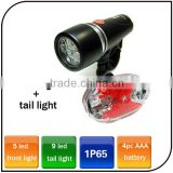 Wholesale Waterproof Bicycle 5 Led Front Light And 9 Led Rear Light AAA Battery Bike Light Set