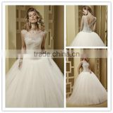 vestidos-novia 2016 Elegant illusion neckline V shape back wedding dress DM-025 Luxury crystals bridal wedding gown