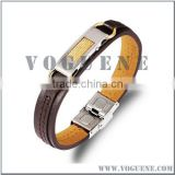 durable thick brown leather fashion button stainless steel bracelet