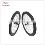 2016 New U shape 60mm x 23mm clincher carbon fiber wheelset for road racing with DT 240S hub and Sapim cx-ray areo spokes