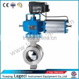 Wafer type metal seated Ball valve v type c/w pneumatic operator