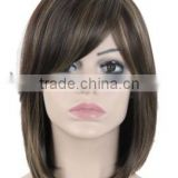 "14"" Female Short straight Bob Wig Highlight Haircut Heat Resistant Realistic Wig African American Wig For Black Women"