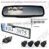 Car rear view camera with video parking sensor system for European car, Rearview mirror option