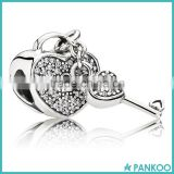New Design Lock and Key Charm 925 Sterling Silver CZ Pave Heart Charm Beads Wholesale