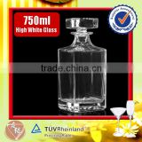 Food grade embossed 750ml square glass whiskey decanter set