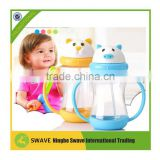2016 hot sell baby drinking plastic cups 180cc baby bottle straw with handle P76750