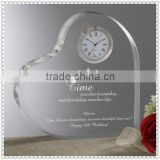 Love Heart Crystal Desk Clock For Wedding Table Decoration