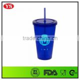 BPA FREE Acrylic 16 ounce Plastic insulated tumbler with straw for drinking