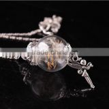 Real Dandelion Seed Jewelry Crystal Glass Ball Dandelion Necklace Alloy Chain Pendant Necklaces For Women