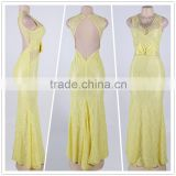Beautiful Pattern Adult Women Party Wear Back Open Brilliant Yellow Mermaid Evening Dress