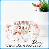 Latest trendy style round shape resin pressed real dried flower bracelet