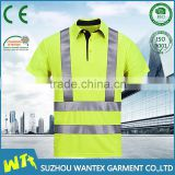 hot sale fluo yellow safety working t shirt wholesale reflective tshirt customized polo shirt