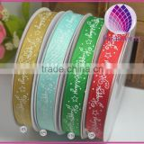 printed happy christmas grosgrain ribbon,1 - 1/2 inch with single-side printed ,Christmas gift wrap ribbon,100yards / roll.
