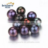 8.5-9mm AAA best quality black peacock pearl round beads no hole, loose pearl beads , natural pearl no hole