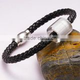 Black braided leather band 1pc glass bead leather bracelet with charms
