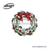 Christmas Gift New Fashion Wreath Shape Brooches Pins New Arrival Crystal Silver Plated Charm Brooch for Women