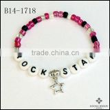 Vintage Style Rock Star Charm Neon Color Beads Rainbows Bracelet PERSONALIZED name or word peace sign charm Bracelet Jewelry
