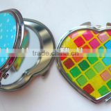 Metal heart shape cosmetic mirror foldable custom logo pocket mirror