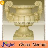 yellow marble ornamental selling flower pot mold design NTMF- FP215X