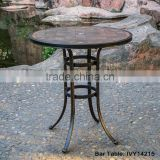 patio furniture cast aluminum bar table rustproof porcelain tile tabletop with parasol hole assembly #IVY14215