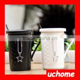 UCHOME Ceramic Romantic Matching Couple Coffee Mugs With Lid And Spoon Pendant Coffe Cup