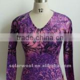 OEM Service With High Quality Ladies Cashmere V neck Printed Shirt