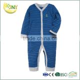 Wholesale 100% cotton long sleeve new style fashion cotton stripe newborn baby boy pyjama