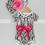 Newest Black DaMask Baby Shirt Bodysuit With Beanie Cheap Rompers For Babies Newborn Baby Girl Summer Clothes CS90425-18
