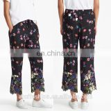 China high fashion clothing factory floral-printed wide-leg butterfly-embroidered trousers fitness women's pants