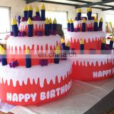 Hot sale customized giant inflatable birthday cake model/inflatable replica for inflatable advertising hot s