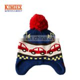 Custom Baby Boys Girls Kids Cars Hat Ear Flap Beanie with Pom