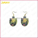 Custom Logo Die Stuck Metal Gold Plated Soft Enamel Earrings