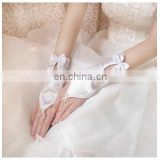 Children Or Women Satin Bow Wrist Length Wedding Bridal Glove White Or Ivory Pearl Beaded,Flower Appliqued Fingerless Gloves