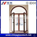 Wood Color Arched Top Aluminium Casement French Window
