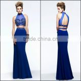 New Arrive Beautiful and Sexy Evening Dress with National Beading and Backless High Quality High Neck Sheath Evening Dress