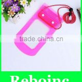 Transparent Pink 2-faced Waterproof Mobile Phone & Ear Phone Bag with String XYL-D-W064