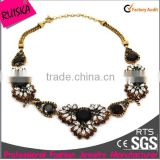 Vintage Design High End Fashion Jerwelry Necklace With Jet Black And White Marquise Stone
