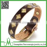 Antique Square Shaped Alloy Clasp Brown Genuine Leather Cuff Bracelet Bangle Wristband Wholesale