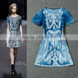 Best Selling 2014 high quality casual short sleeve embroidery name brand denim dress for fashion women F17011