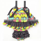 Fashion style baby swing high quality kids cotton swing set pretty design swing top bloomer set