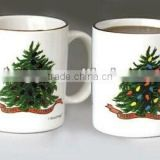 Factory custom 11oz christmas tree heat sensitive coffee mug